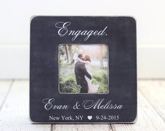 Engagement GIFT Personalized Engagement Picture Frame Engagement Party Rustic Romantic Gift