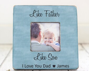 Father's Day Dad Gift From Son Personalized Picture Frame Like Father Like Son Quote