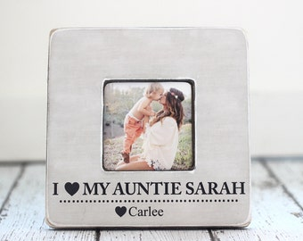 Gift for Aunt Auntie Personalized Gift I Love My Auntie Picture Frame Niece Nephew