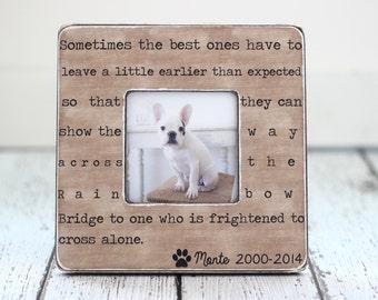 Pet Loss Memorial Pet Sympathy Gift Dog Cat Rainbow Bridge Quote Personalized Picture Frame