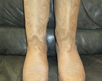 Vtg ARIAT Tan Leather Cowboy Boots Womens 8M