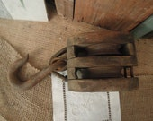Vintage Iron and Wood Pulley Antique Wooden Cast Iron Barn Pulley