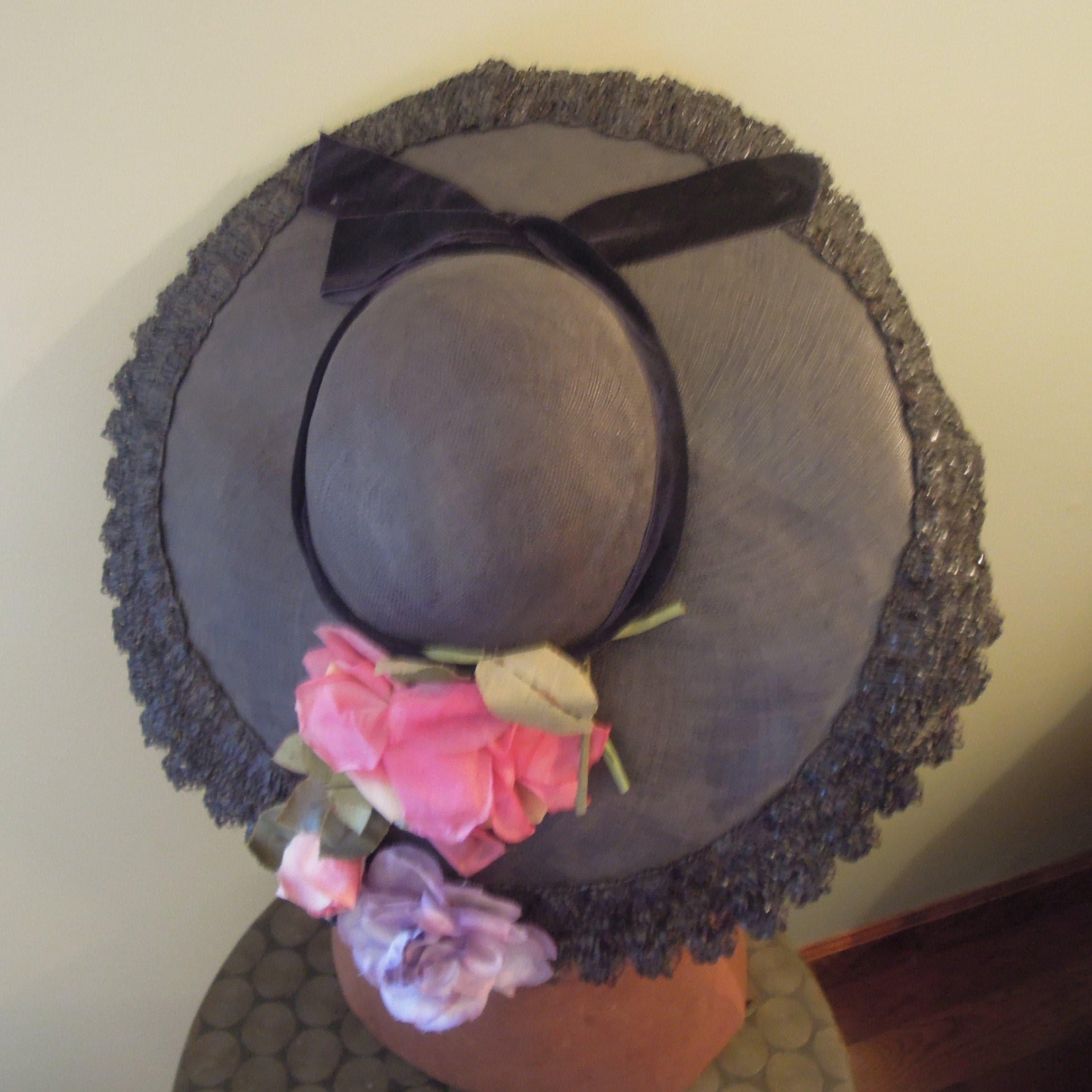 1950s Hats: Pillbox, Fascinator, Wedding, Sun Hats Vintage 1950s Straw Platter Ladies HatNavy  Velvet Ribbon Purple Pink Flowers Kentucky Derby Garden Party Floral $29.50 AT vintagedancer.com