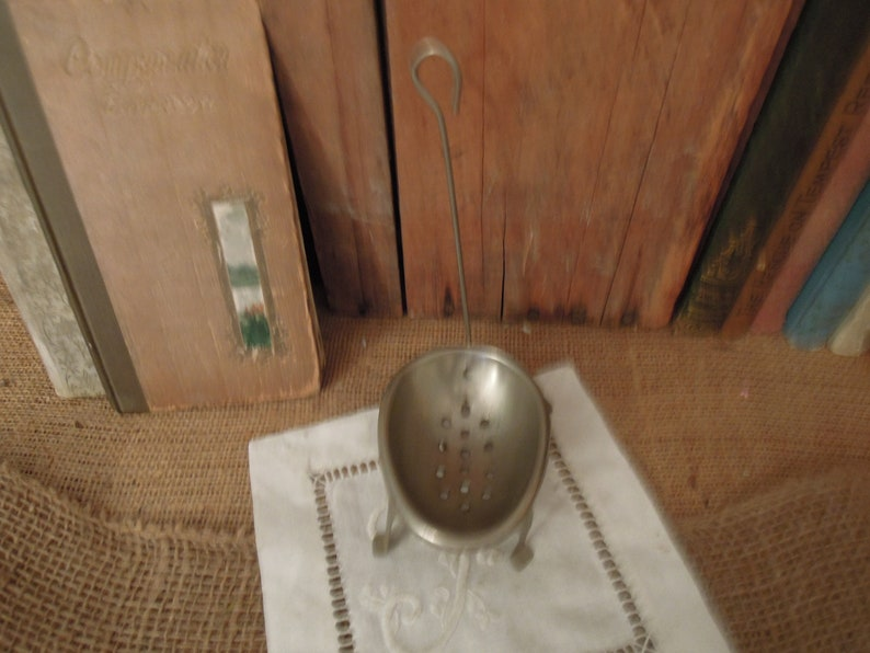 Vintage Egg Dipper  Tin Footed Egg Poacher  Japan 1940/'s Metal Egg Strainer