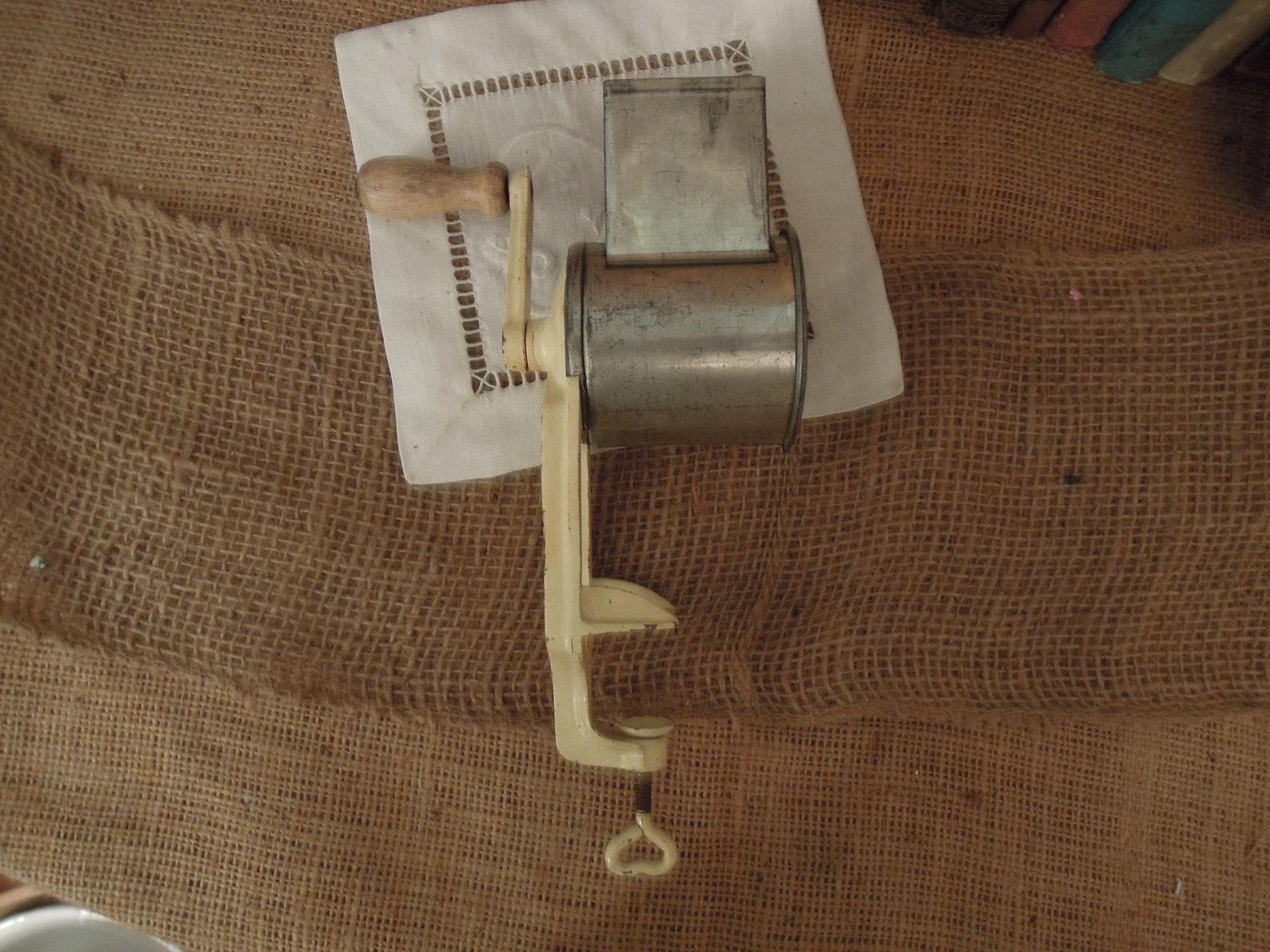 Antique German Counter Top Grinder / Vintage Iron & Tin Clamp Grinder / Hand Grater Cheese Coconut Hazelnut Almonds