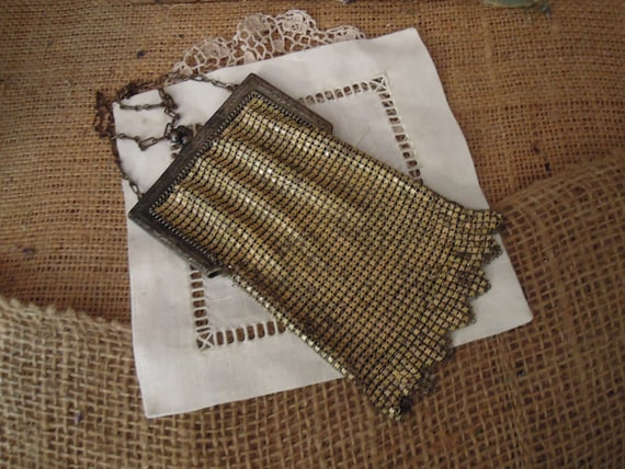 Vintage Art Deco Yellow Purse / Whiting and Davis