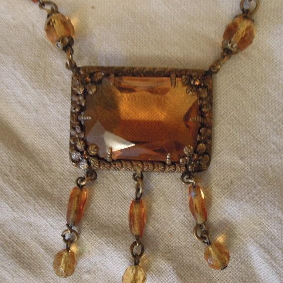 Art Deco Brass Necklace / Czech Amber Glass /Amber