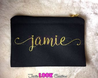Personalized Cosmetic Bag, Personalized Makeup Bag, Personalized Zip Up Pouch, Personalized Bridesmaid Gift, Bride/Bridesmaid Makeup Bag