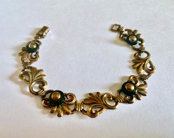 E 1940/'s Art Deco Symmetalic by WRE W Richards Sterling and 14KGP Link Bracelet Featuring Floral Designs 7.25 Total Length