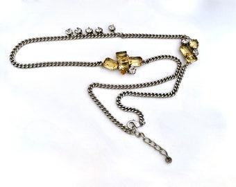 Vintage 80s Fashion Gold Tone Bangles with a Neon Orange Ann Taylor Necklace Retro Fashion Jewelry Set