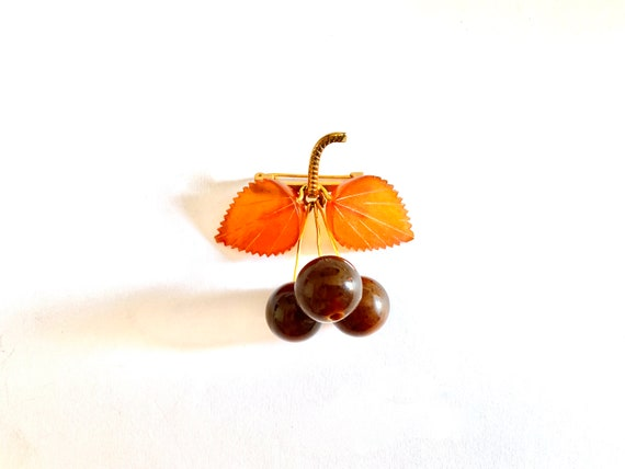 Russian 1970's Cherries and Leaves Brooch, Three S