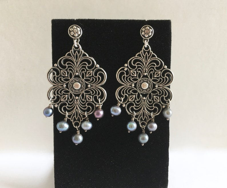 Fabulous Vintage Sterling Silver Chandelier Earrings with Natural Black Pearls Filigree Antiqued Silver Boho Gypsy Style Dangle Earrings