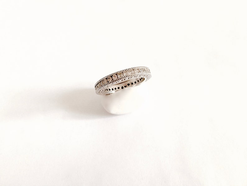 Sterling Silver Eternity Band with Channel Set Round and Square CZ/'s Wedding Band Style Lovely Sparkle Size 8 Elegant Encrusted Band