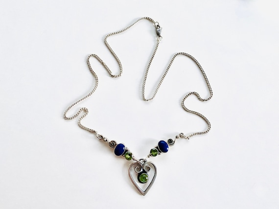 Tourmaline Peridot and Lacy Sterling Silver Necklace with Heart Shaped Lobster Claw Clasp