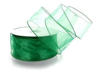 Organza  Chiffon Ribbon Emerald Green x 50y  45m CLEARANCE
