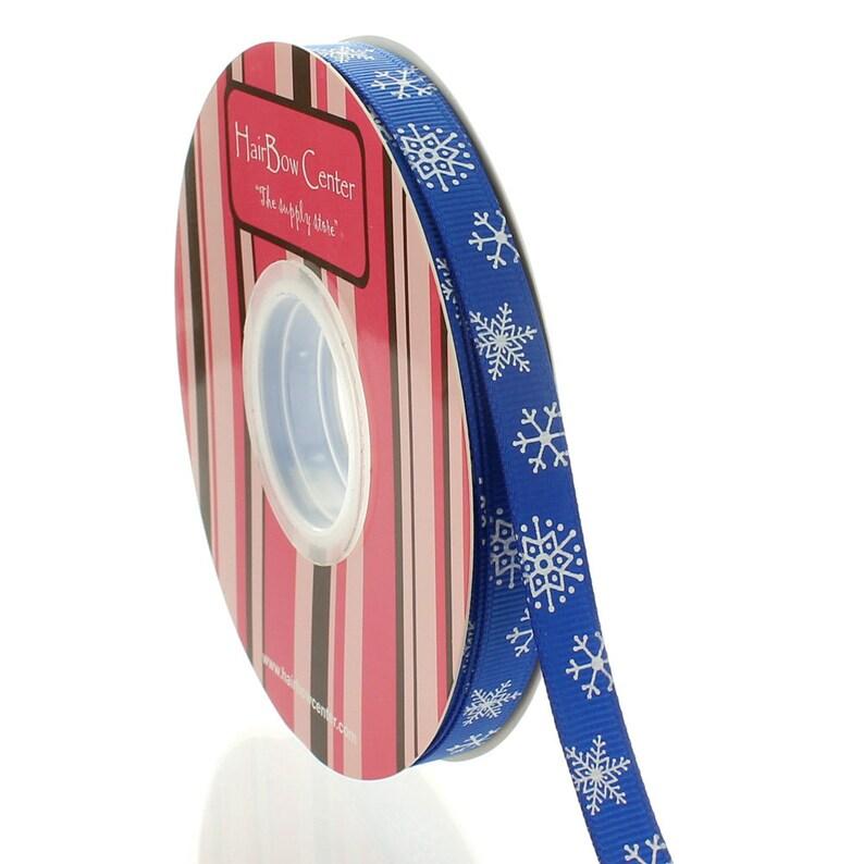 38 Royal Blue Snowflake Grosgrain Ribbon Choose Length