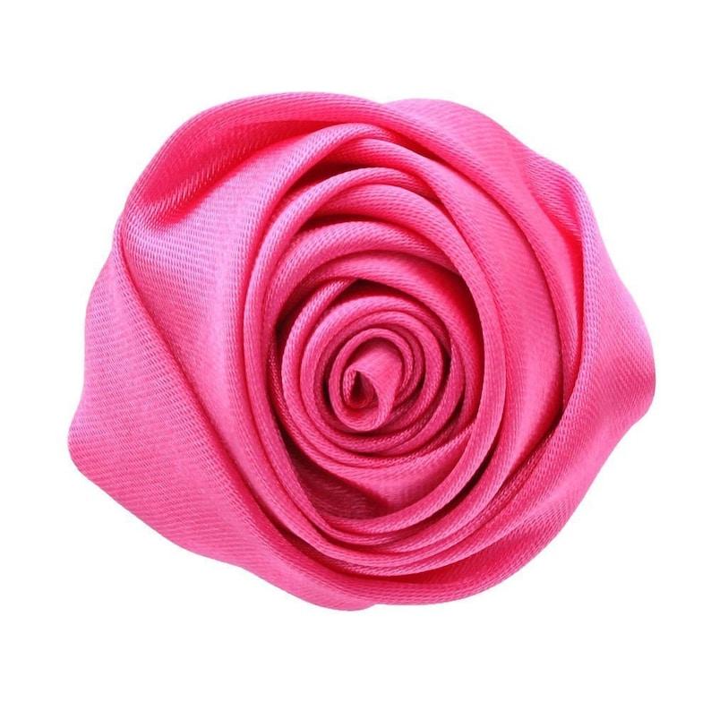2 Medium Satin Rose Knot Hot Pink 4 pcs