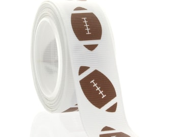 "7/8"" Football Grosgrain Ribbon - 5yds"