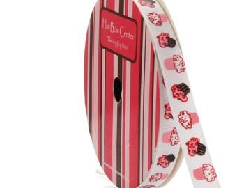 "CLEARANCE**  3/8"" Brown / Pink Cupcake Grosgrain Ribbon - Choose Length"