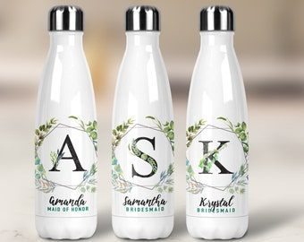 Bridesmaid Proposal - Wedding Favor - Bridesmaid Water Bottle - Vacuum,Swell Style, Floral, Geometric Frame, Wedding Gift