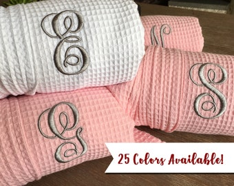 Wedding Robes - Bridesmaid Gift   Bridesmaid Robes for Bridal Party - Short  Kimono Waffle Weave Robe with Embroidery - Monogram 5fcd46818