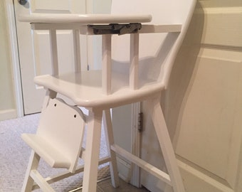Professionally Painted Vintage Wooden High Chair Jenny Lind Etsy