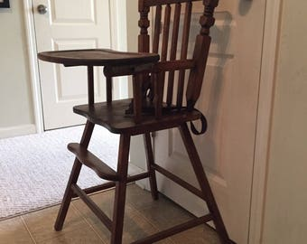 Fully Refinished Vintage Wooden High Chair, Jenny Lind, Antique High Chair,  Vintage High Chair, Wood Highchair, Vintage Wood Highchair