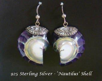 Earrings 015: Fabulous Natural Nautilus Shell Earrings with Sterling Silver Bolero - Hand Made in Bali | Gifts for Women, Dangle Earrings