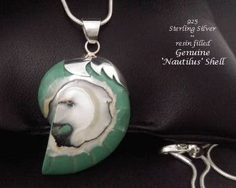 Necklace 004: Fabulous Natural Nautilus Shell, Resin Filled, with Sterling Silver 'Bolero', Artsan Crafted in Bali | Gifts for Women Pendant