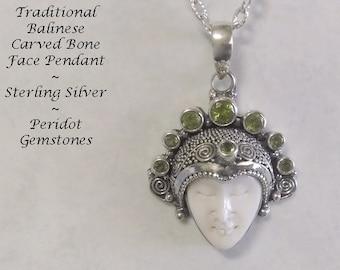 Bone Necklace, Bali Jewelry, Sterling Silver with Peridot Gemstones, Balinese Bone Jewellery, Ox Bone Face Carving | Bone Pendant 144-P
