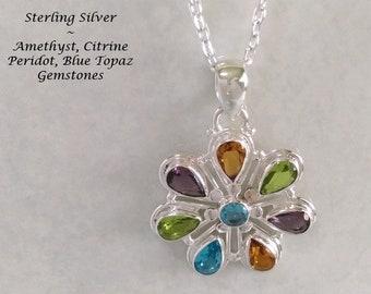 Necklace Pendant, Bali Artisan Jewelry, Array of Multiple Gemstones in Sterling Silver | Jewellery, Balinese Jewelry, Bali Jewelry, 124