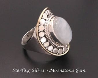 Moonstone Ring - Stunning Sterling Silver Ring with Rainbow Moonstone Gemstone, Gold Trim, Size 8.75 | Rings for Women, Silver Ring 234