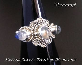 Superb Sterling Silver Ring with 3 Gorgeous Rainbow Moonstones | Ring Size 6 1/2 US | Gemstone Ring, Gifts for Women, Moonstone Ring, 241