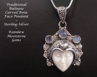 Necklace: Rainbow Moonstone Gems in a Traditional Balinese Face Bone Carving Artisan Crafted Sterling Silver Necklace | Gifts for Women, 048