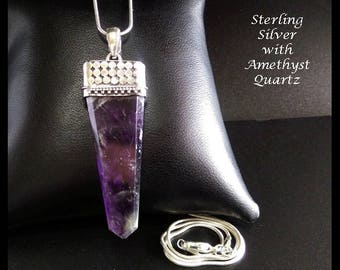 Stunning Silver Necklace with Amethyst Quartz Gemstone - Artisan Crafted in Bali | Gifts for Women, Sterling Silver, Pendant, Jewellery, 023