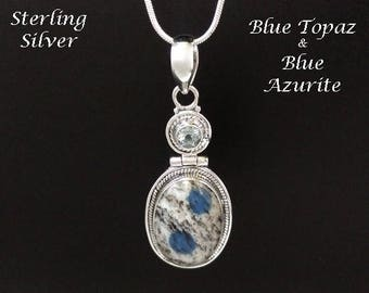 Sterling Silver Necklace with Blue Topaz and Blue Azurite Gemstones - Artisan Crafted in Bali | Gifts for Women, Jewelry, Pendant 031