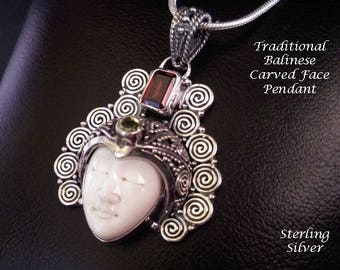 Traditional Balinese Face Bone Carving Artisan Crafted Sterling Silver Necklace with Garnet and Peridot Gemstones | Gifts for Women, 041