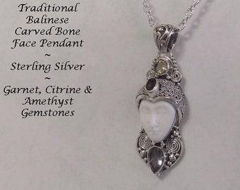 Bali Jewelry Bone Necklace, Amethyst, Garnet & Citrine Gemstones, Balinese Face Carving Bone Jewelry, Sterling Silver, Ox Bone | Silver 143