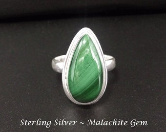 Sterling Silver Ring with a Stunning Malachite Gemstone | Silver Ring Size 7.75 US | Gifts for Women, Jewelry, Gift Idea, Gemstone Ring, 257