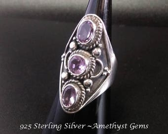Stunning Sterling Silver Ring set with 3 Gorgeous Amethyst Gemstones | Ring Size 6 3/4 US | Gemstone Ring, Silver Ring, Amethyst Ring, 244