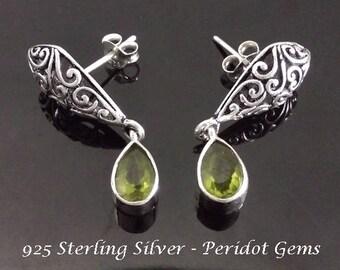 Stud Earrings, Ornate Sterling Silver Stud Earrings with Peridot Gemstones - Hand Made in Bali | Gifts for Women, Studs, Gemstone Studs, 118