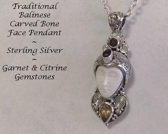 Bali Jewelry Bone Necklace, Citrine, Garnet & Amethyst Gemstones, Balinese Face Carving Bone Jewelry, Sterling Silver, Ox Bone | Pendant 140