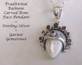 Bone Necklace, Bali Jewelry, Balinese Bone Jewellery, Sterling Silver with Garnet Gemstones, Ox Bone Face Carving | Bone Pendant 135