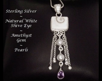 Necklace with Shiva Eye and Amethyst Gems with Pearl in a Sterling Silver Pendant | Retro, Gifts for Women, Gift Idea, Jewelry, Gift, 055