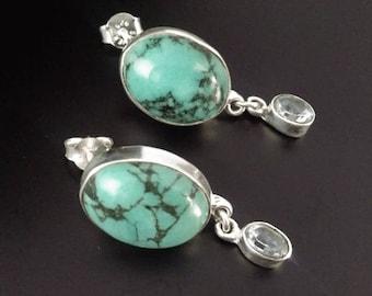 Bali Earrings,Stud Earrings with Chrysocolla and Blue Topaz Gemstones on Ornate Sterling Silver Stud Earrings - Hand Made Bali Jewelry | 218