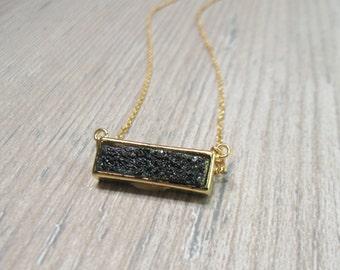 Black Druzy Bar Necklace, Gold Druzy Jewelry, Gold Bar Necklace, black gemstone, quartz jewelry
