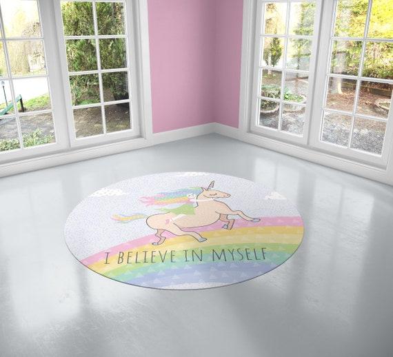 Unicorn Rug Vinyl Rug Print Kids Room Decor Girls Carpets Etsy