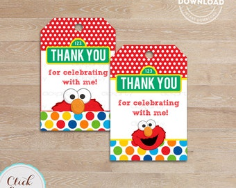 Elmo Favor Tags Gift Thank You Sticker Party Decorations Birthday Printables INSTANT Download