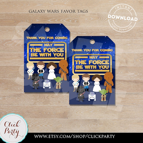 Galaxy Wars Favor Tags Star Wars Thank You Tags Gift Favors Party