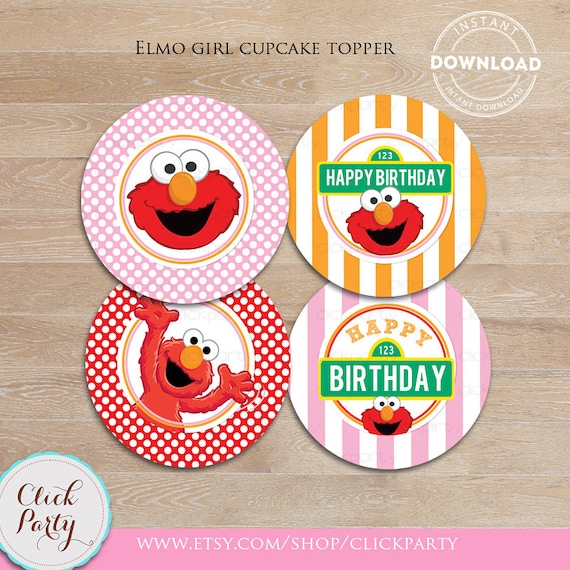 Elmo Girl Cupcake Toppers Pink Sesame Street Printable Cake 1st Birthday Party Decorations Supplies INSTANT Download